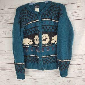 Woolrich Sheep Print Wool Cardigan Sweater Size L